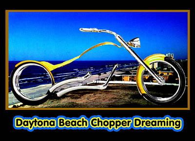 Daytona Beach Chopper Dreaming Yellow Gold Jgibney The Museum Art Print by The MUSEUM Artist Series jGibney