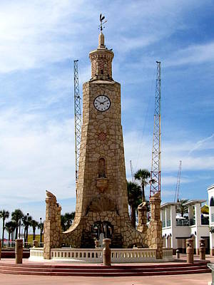 Photograph - Daytona Beach Clock Tower 000 by Chris Mercer