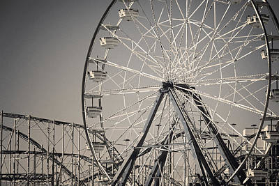Daytona Beach Ferris Wheel Art Print by Joan Carroll