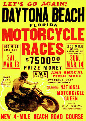 Photograph - Daytona Beach Motorcycle Races 1947 by Bill Cannon