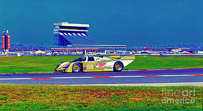 Photograph - daytona speedway sun bank 24hr Porsche gtp by Tom Jelen
