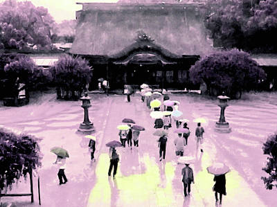Mixed Media - Dazaifu Tenmangu Shrine In The Rain by Susan Maxwell Schmidt
