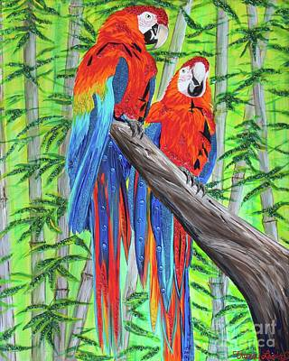 Scarlet Macaw Painting - Dazzling Duo by Tricia Lesky