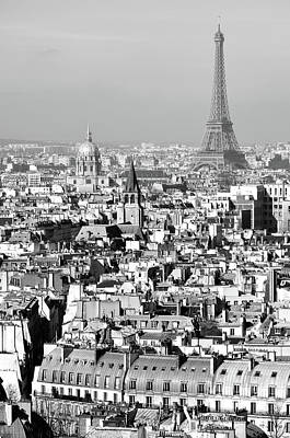 Photograph - Dazzling Rooftops Of Paris France With Les Invalides And Eiffel Tower Black And White by Shawn O'Brien