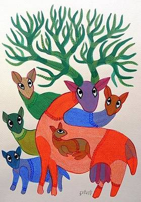Gond Tribal Art Painting - Db 276 by Durga Bai