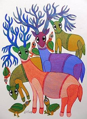 Gond Tribal Art Painting - Db 277 by Durga Bai