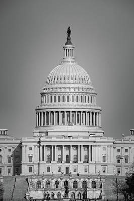 Photograph - Dc Capitol Black And White by Gregory Ballos