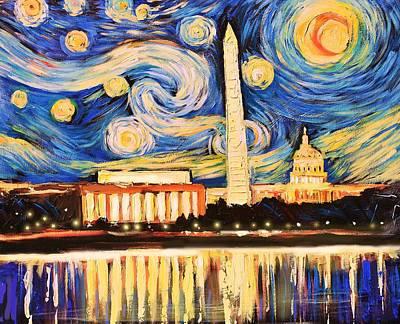 Washington Monument Painting - D.c. Starry Night by Zachary Sasim