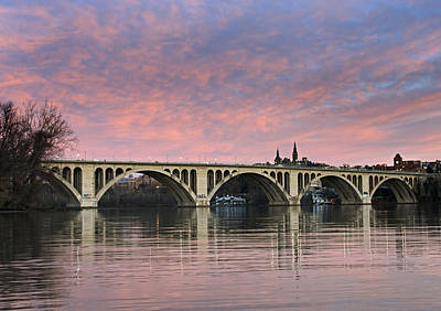 Dc Sunrise Over The Potomac River Print by Brendan Reals
