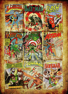 Dc Superheroes Collage Print by Russell Pierce