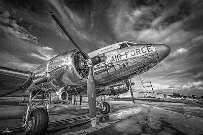 Photograph - Dc3 Miss Virginia In Black And White by Philip Rispin