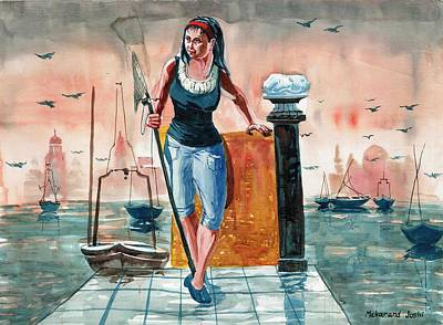 Maharashtra Painting - A Teenage Girl On A Jetty by Makarand Joshi