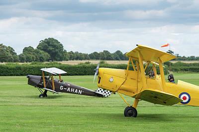 Photograph - De Havilland Tiger Moths Taxiing by Gary Eason