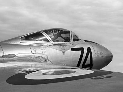 Photograph - de Havilland Vampire - Black and White by Gill Billington