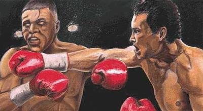 Boxer Painting - De La Hoya Vs Vargas by Kenneth Kelsoe