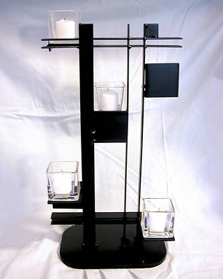Sculpture - De Stijl Candle Holder by John Gibbs