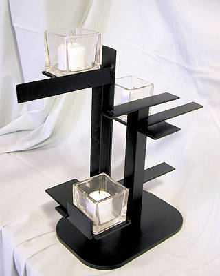 Sculpture - De Stijl Candle Holder Model 3 Angle View 2 by John Gibbs