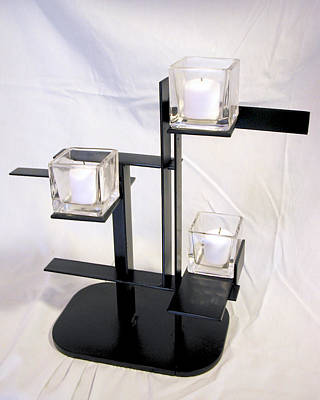 Sculpture - De Stijl Candle Holder Model 3 Angle View by John Gibbs