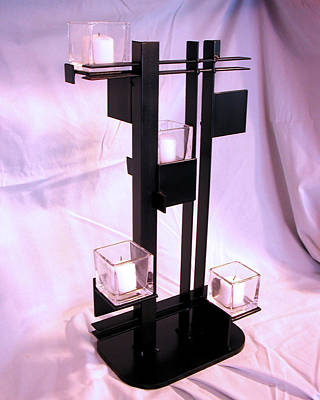 Sculpture - De Stijl Candle Holder Three Quarter View by John Gibbs