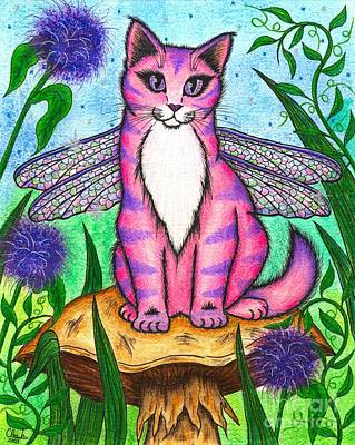 Art Print featuring the painting Dea Dragonfly Fairy Cat by Carrie Hawks