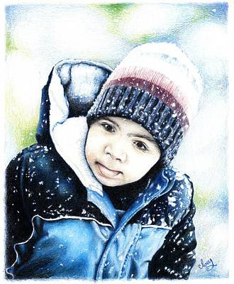 Drawing - Deacon In The Snow by Mike Ivey