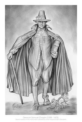 Genealogy Drawing - Deacon Samuel Chapin by Greg Joens
