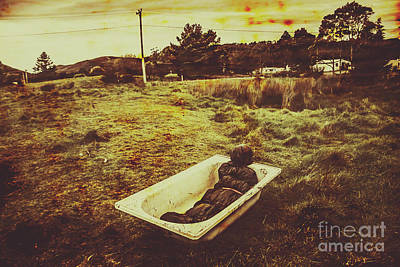Dead Body Lying In Bath Outside Art Print