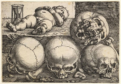 Skull Drawing - Dead Child With Four Skulls by Barthel Beham