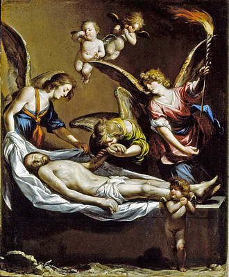 Catholic For Sale Painting - Dead Christ With Lamenting Angels by Antonio del Castillo y Saavedra