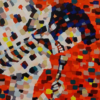 Pointillism Painting - Dead Elvis I by Denise Landis