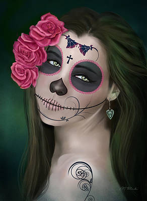 Day Of The Dead Bride Sugar Skull Art Print