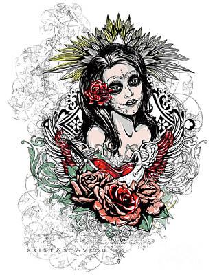 Digital Art - Dead Queen Tattoo Art by Xrista Stavrou