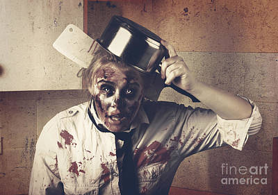 Dead Scary Zombie Girl Cooking Brains Art Print
