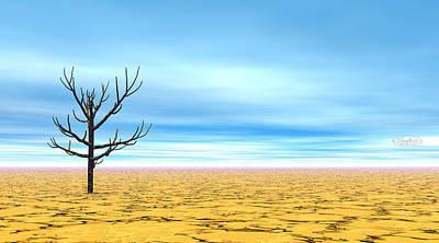 Dead Tree Trunk Digital Art - Dead Tree In Desert - 3d Render by Elenarts - Elena Duvernay Digital Art
