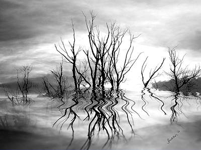 Art Print featuring the photograph Dead Trees Bw by Susan Kinney