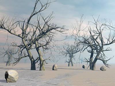 Desert Sunset Digital Art - Dead Trees In The Desert - 3d Render by Elenarts - Elena Duvernay Digital Art