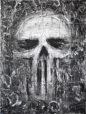 Grunge Skull Painting - Deadly Demise by Roseanne Jones