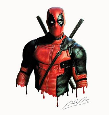 Colored Pencil Portrait Drawing - Deadpool 1 by David Dias
