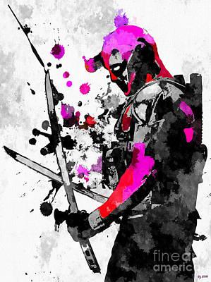 Character Portraits Mixed Media - Deadpool Grunge by Daniel Janda