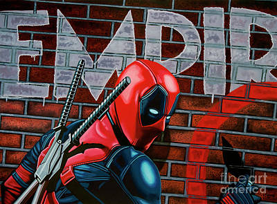 Action Portrait Painting - Deadpool Painting by Paul Meijering