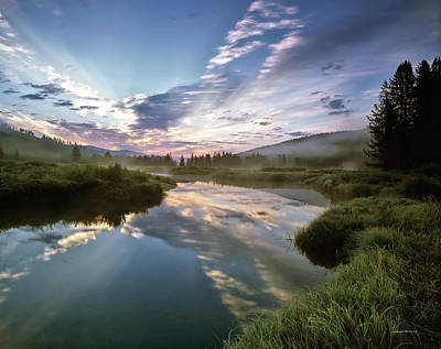 Deadwood River Reflection Sunrise Art Print by Leland D Howard