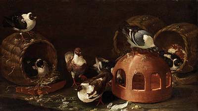 Meadowlark Painting - Deaf Between Feed Trough And Baskets by Giovanni Agostino Cassana