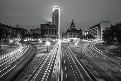 Photograph - Dealey Plaza At Dawn - Black And White - Dallas Texas by Gregory Ballos