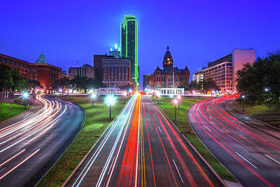 Photograph - Dealey Plaza At Dawn - Dallas Texas Skyline by Gregory Ballos