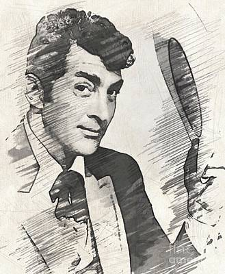 Musicians Drawings Rights Managed Images - Dean Martin, actor, crooner Royalty-Free Image by John Springfield