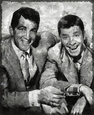 Lewis Painting - Dean Martin And Jerry Lewis Vintage Hollywood Legends by Mary Bassett