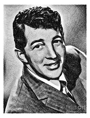 Musicians Drawings Rights Managed Images - Dean Martin, Vintage Legend by JS Royalty-Free Image by John Springfield