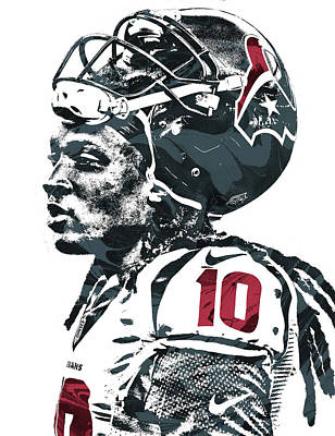 Mixed Media - Deandre Hopkins Houston Texans Pixel Art 2 by Joe Hamilton