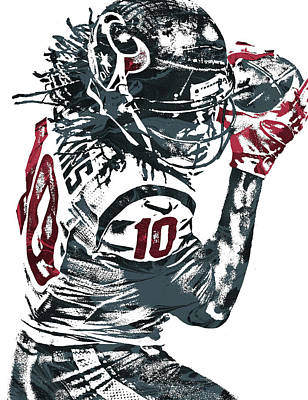 Mixed Media - Deandre Hopkins Houston Texans Pixel Art by Joe Hamilton