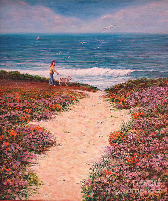 Painting - Deanna And Bugsy At Half Moon Bay by Dee Davis